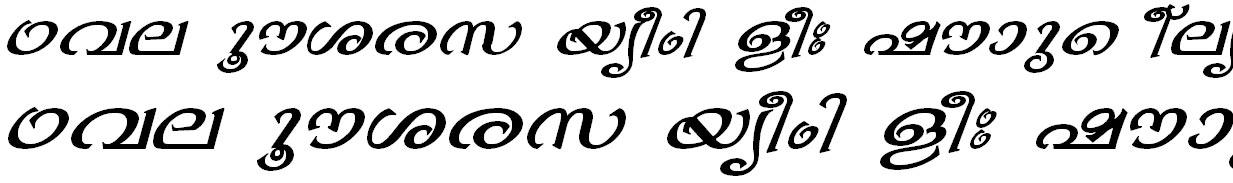 ML_TT_Bhavana Italic Malayalam Font