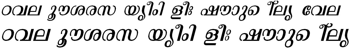 ML_TT_Malavika Italic Bangla Font