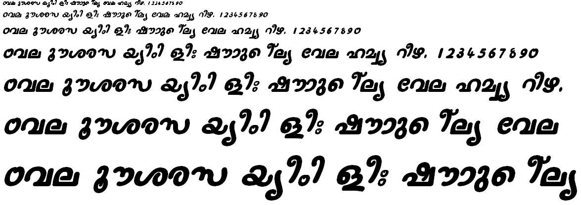 ML_TT_Nanditha Bold Italic Malayalam Font